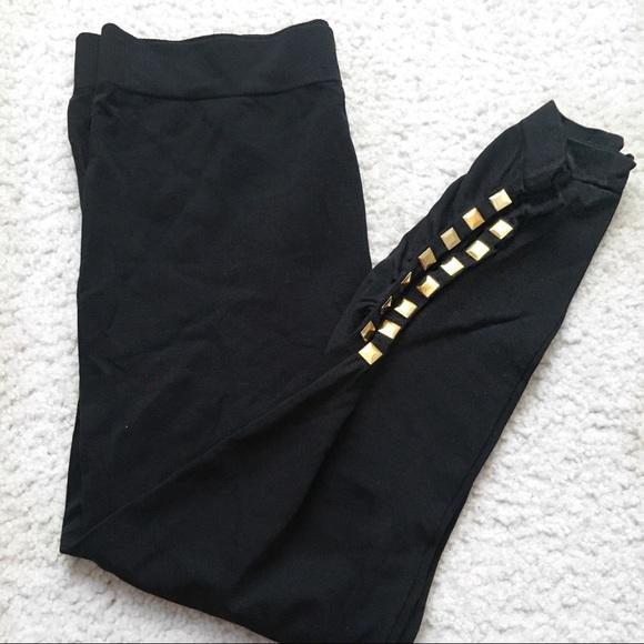 3dac8284d59d0 Hot Kiss Pants | Short Black Leggings With Gold Studs | Poshmark